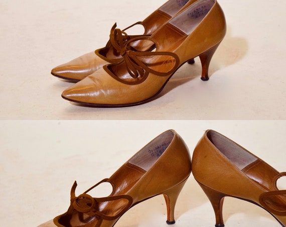 "1950s authentic vintage suede brown lace detail + tan leather pointed toe stiletto 3"" heels women's US size 7"