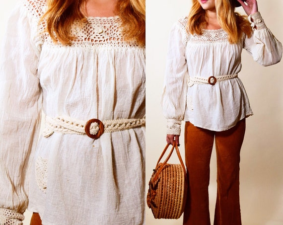1970s authentic vintage bohemian peasant blouse with crochet trim, pocket and watching waist belt women's size small- medium