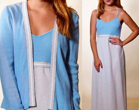 Authentic vintage RARE 1960s light blue + off white two piece spaghetti strap gown + sweater set women's size small