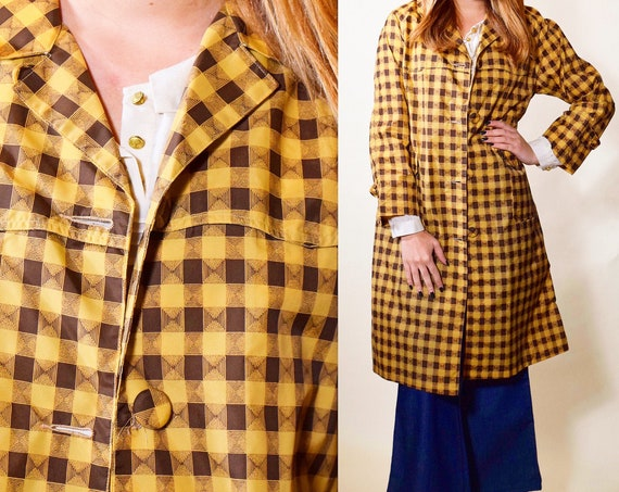 1950s vintage 3/4 length button down lightweight checkered raincoat women's size small - medium