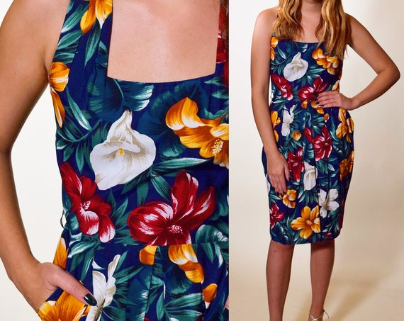 1980s authentic vintage Hawaiian floral mini dress with pockets women's size small