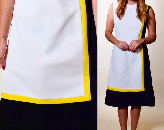 1960s authentic vintage mod sleeveless mid length white, black + yellow pencil dress women's size medium