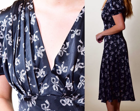 Vintage Betsey Johnson 1930s style a-line sweetheart neckline short sleeve midi dress women's size small