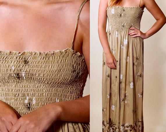 1970s authentic vintage earth tone Hawaiian spaghetti strap maxi dress women's size small