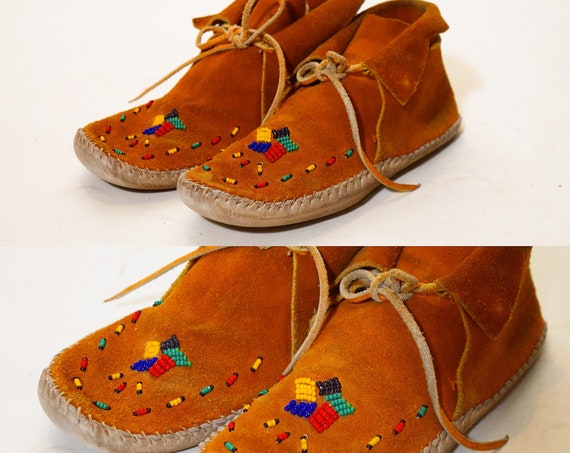 1970s authentic vintage handmade beaded chestnut brown suede + fringe moccasins women's US Size 6.5