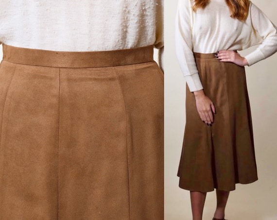 Vintage light faux suede soft brown high waisted midi skirt women's size small
