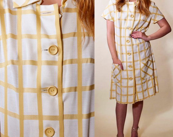 1960s authentic vintage button down checkered housecoat collared midi dress women's size small - medium