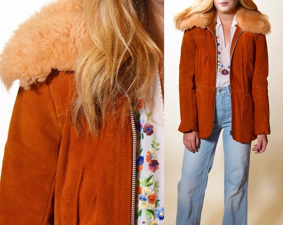1970s authentic vintage RARE burnt orange suede zip up Penny Lane coat with shearling collar women's size small