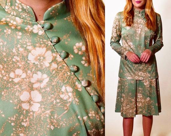 1970s authentic vintage asian high collar blouse + skirt set women's size medium