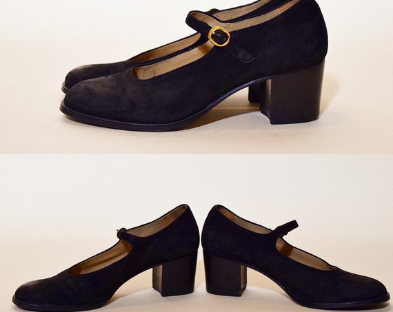 "Authentic vintage classic black suede leather Mary Jane style with Chunky 2"" block heels women's US size 6.5"