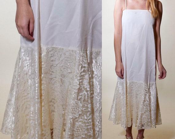 Authentic vintage 1960s RARE taffeta + lace bottom spaghetti strap slip dress women's size XS-S
