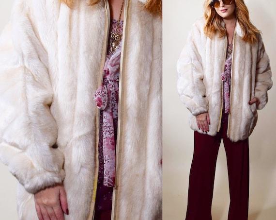 Vintage off Lilli Ann white faux fur teddy bear style bomber jacket/coat women's size medium-large