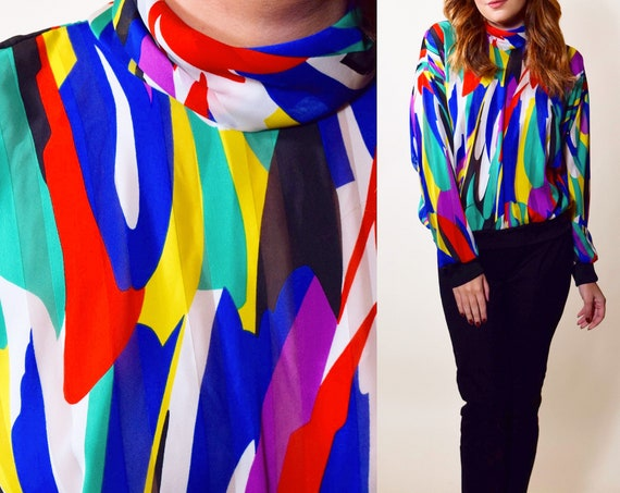 1980s rare bright abstract pattern high neck pullover sheer polyester blouse women's size medium