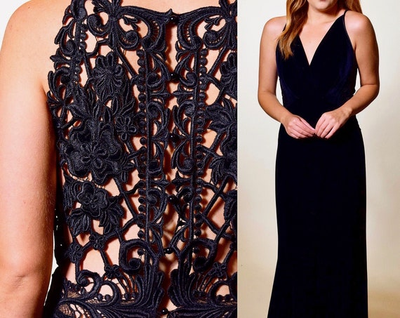 Vintage Jessica McClintock black sleeveless lace open back plunging neckline formal maxi gown dress women's size small