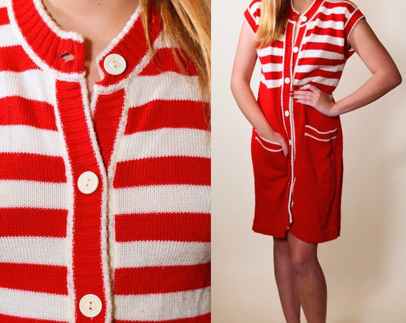 1960s authentic vintage mod red + white stripe button down short sleeve sweater dress women's size small-medium