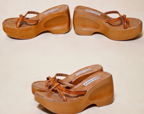 "Vintage tan / brown platform open toe sandals - 3.5"" heel 1.75"" platform women's US size 6.5"