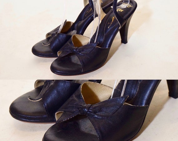 1940s authentic vintage black leather pin-up rockabilly style ankle strap stiletto's with bow women's US size 5.5