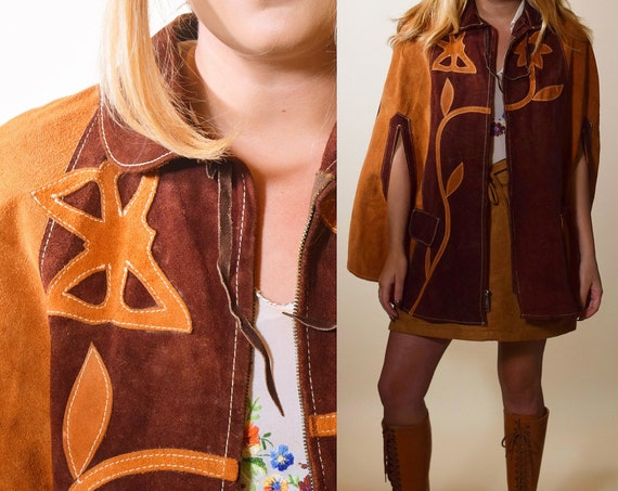 Vintage 1960's hippie bohemian suede leather floral butterfly chestnut and brown snap down cape jacket women's one size