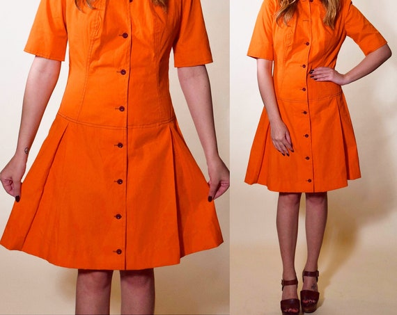 1960s fit and flare mod preppy orange button down short sleeve knew length dress women's size Small- Medium