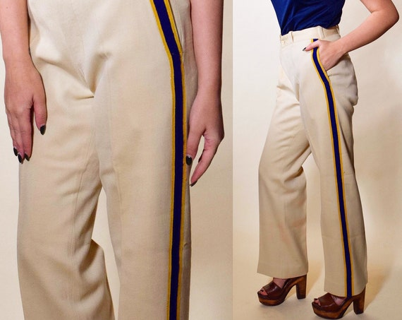 1950s authentic vintage MARCHING BAND wool beige + navy and gold embroidered stripe straight leg trouser pants women's size S-M