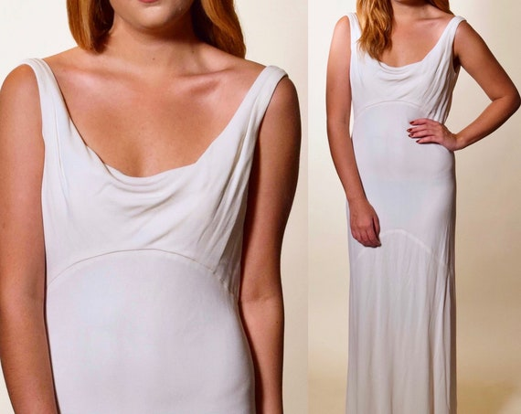 Vintage 1930s style off white a-line bias cut plunging open back sleeveless formal dress women's size small