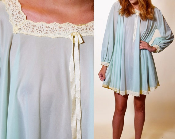 Rare 1960s vintage aqua blue mini hippie sheer nightie / babydoll dress with white lace trim + swing style long sleeves women's size small