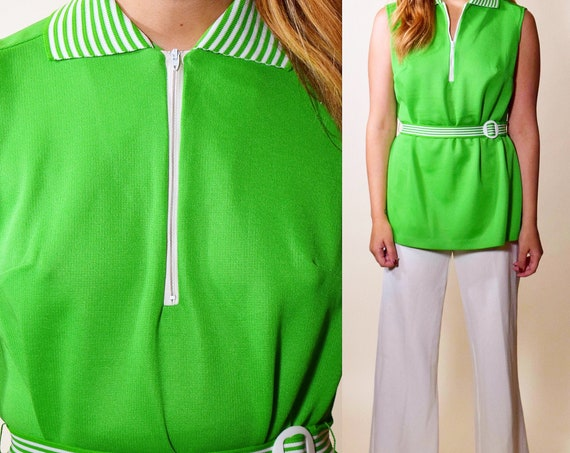 1960s authentic vintage lime green + white stripe belted mod tunic women's size small