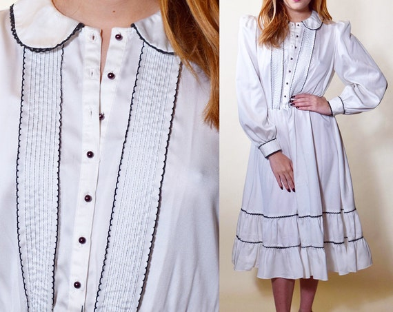 1970s authentic vintage white peasant style bohemian midi dress with Peter Pan collar women's size medium