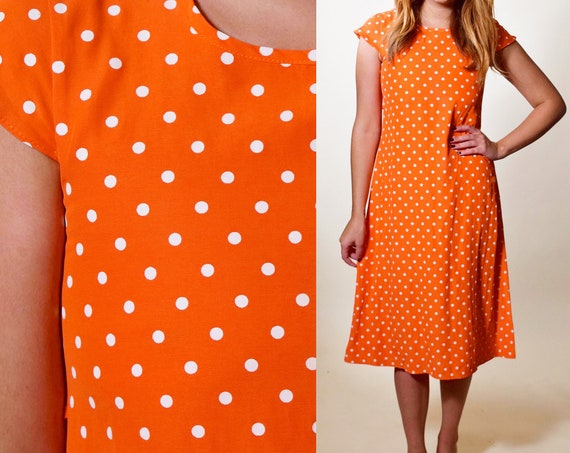 Vintage orange + white polka dot short sleeve tie back dress juniors - XXS-XS