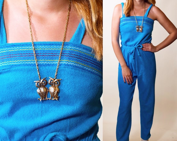 1970s vintage aqua blue turquoise  Terry cloth sleeveless jumpsuit with rainbow stitching women's size small