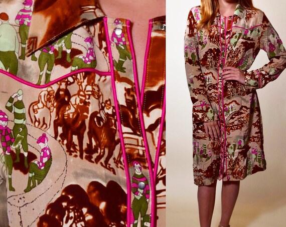 1980s/1990s Rare vintage designer TIBI silk collared shirt dress with jockey horse racing pattern women's size medium