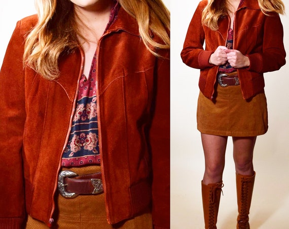 1970s vintage dark rust / brick red/ brown suede collared leather zip up crop jacket with sweater sleeves women's size small