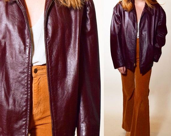 Authentic vintage Burgundy leather zip up collared jacket unisex medium