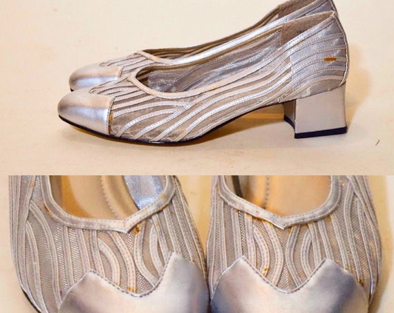 "1960s/1970s authentic vintage silver metallic slip on square toe mod pumps with 2"" heel women's US size 7.5"