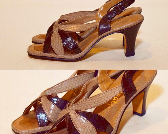 1950s vintage peep toe rockabilly style 3 inch heel women's US size 7.5 narrow