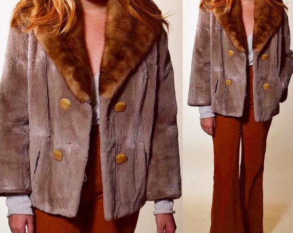 1950s authentic vintage rare cropped soft fur beige coat with mink collar women's size medium