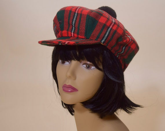 1970s authentic vintage red, green, black  100 % wool tweed plaid newsboy / baker boy cap / hat with pom