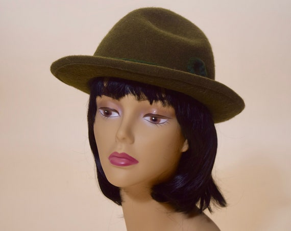 Authentic Vintage green wool Bavarian German style fedora women's size small