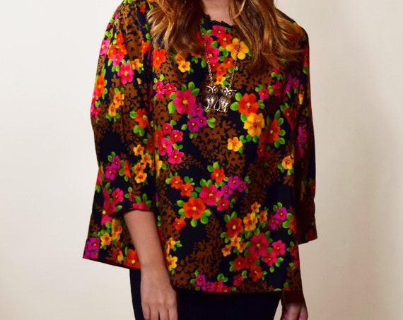 1960s-1970s leopard floral bright patterned swing tunic blouse women's size medium