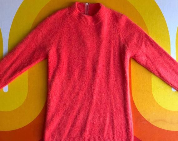Authentic vintage 1960s Capwells's red orange Angora long sleeve turtleneck sweater women's size small