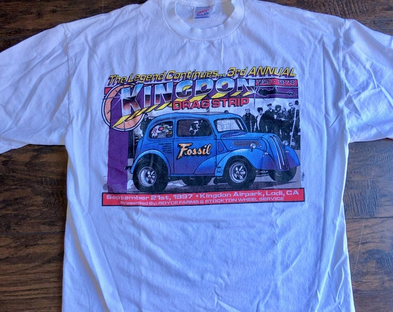 1990s authentic vintage Lodi California 3rd Annual drag strip graphic tee shirt unisex Large