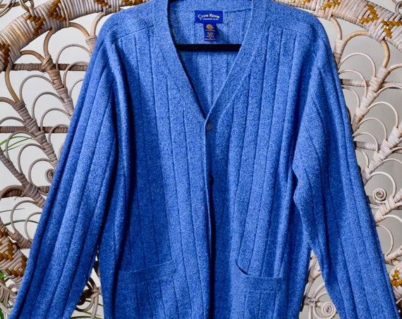 1980s vintage light blue  button down lambswool oversized preppy cardigan Medium