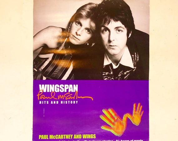 "Vintage Paul + Linda McCartney "" Wings "" double sided promotional poster"