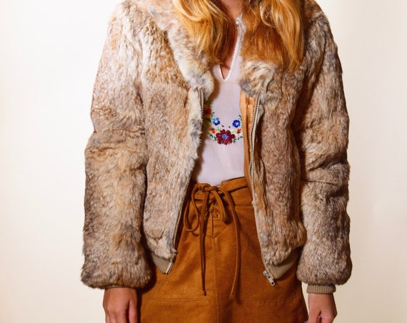 1970's authentic vintage disco  rabbit fur zip up jacket with women's size small