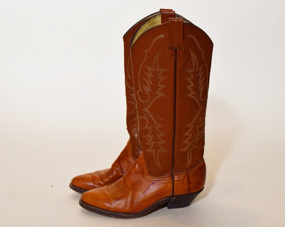Authentic Vintage brown leather two tone cowboy western boots women's US size 6