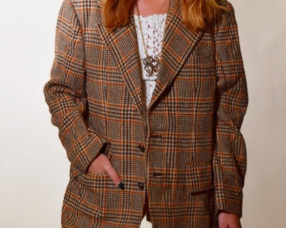 Authentic vintage orange, brown , earth tone tweed oversized blazer unisex medium