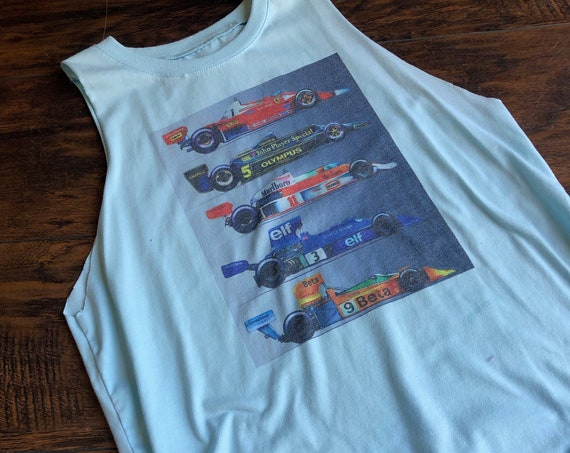 Hand distressed one of a kind race car good year / nascar soft cropped muscle tank top women's size medium