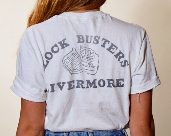 1970s authentic vintage Livermore Blockbusters worn in thin graphic tee shirt unisex medium