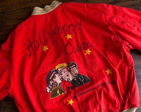 1980s RARE collectible authentic vintage Hollywood Canteen 1987 embroidered Red Cotton Bomber jacket Avierx, LTD unisex Small-Medium