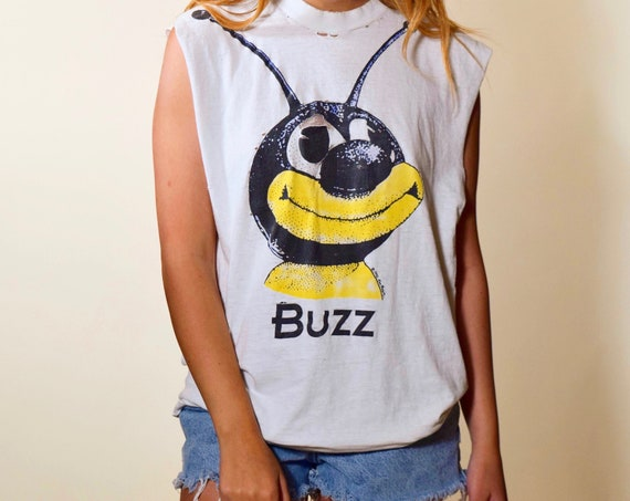 Authentic vintage 1990s Ken Brown BUZZ bee graphic muscle tank unsex M-L